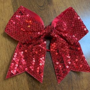 Accessories - Red Sequin Cheer/Dance Bow